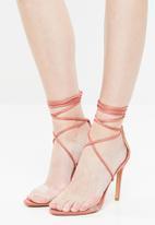 Public Desire - Ximena lace up stiletto heel - peach