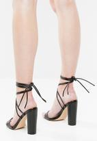 Public Desire - Suzu strappy lace up block heel - black