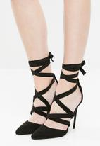 Public Desire - Blake strappy lace up court heel - black