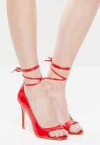 Public Desire - Bea cut-out patent lace up heel - red