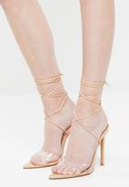 Public Desire - Glamour perspex toe strap heel - neutral