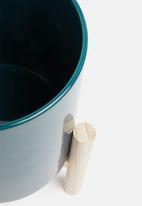 Present Time - Trestle ceramic plant pot - dark blue