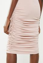 Superbalist - Midi bodycon skirt with ruched detail - pink