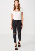 Cotton On - Mid rise grazer skinny jeans  - black