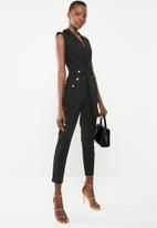 Sissy Boy - Wrap jumpsuit with button detailing - black