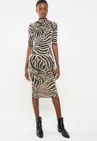 New Look - Zebra turtle neck midi dress - black & beige