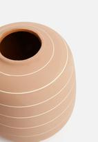 Present Time - Terra ceramic vase wide - terracotta