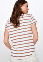Cotton On - The crew T- shirt  - brown & white