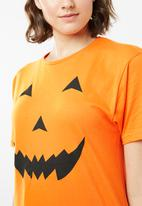 Brave Soul - Pumpkin print T-shirt dress - orange