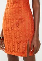 Missguided - Cowl neck lace mini dress - rust