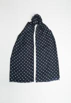 Vero Moda - Hearts long scarf - navy & green