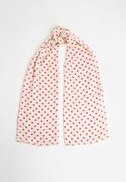 Vero Moda - Hearts long scarf - red & cream