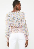 Missguided - Print shirred long sleeve top - pink