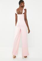 Missguided - Scuba frill jumpsuit - pink