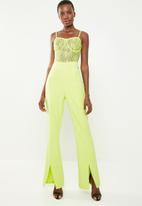 Missguided - Lace bodice slit leg jumpsuit - lime green