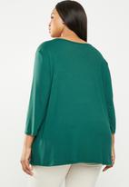 edit Plus - Lace inset v-neck top - green