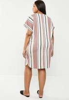 edit Plus - Turn-up sleeve tunic dress - multi