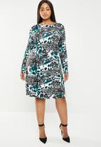 edit Plus - Long sleeve shift dress - multi