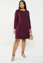 edit Plus - Long sleeve shift dress - burgundy