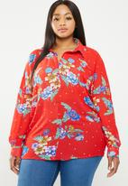 Missguided - Curve chiffon floral print blouse - multi