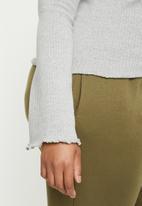 Missguided - Lettuce hem rib long-sleeve top - grey