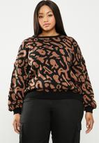 STYLE REPUBLIC PLUS - Zebra print sweater - brown & black