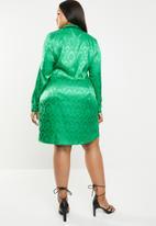 Missguided - Curve jaquard tie side blazer dress - green