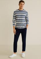 MANGO - Floyd T-shirt - blue & white
