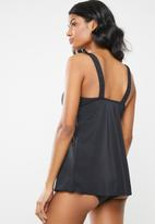 Jacqueline - Frill tankini top - black