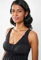 Jacqueline - Maternity silk  Frill tankini top - black