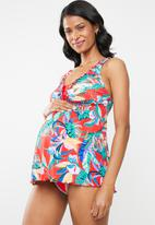 Jacqueline - Maternity Floral tankini top - red