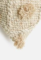 Sixth Floor - Leah hand woven cushion cover with pom poms - brown