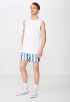 Cotton On - Basic swimshorts - white & blue