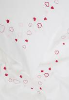 Sheraton - Hearts embroidered duvet cover set - white & pink