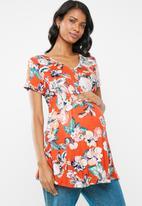 Cherry Melon - Maternity Smock top cap sleeve top - orange