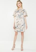 MANGO - Flowy printed dress - cream