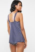 Jacqueline - Maternity Stripe bikini bottom - navy and white