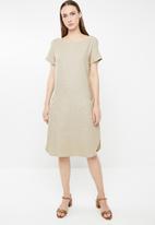 edit - Short sleeve linen blend tunic - beige