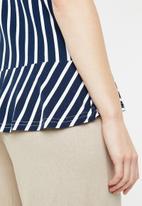 edit - Draw-cord peplum top - navy & white
