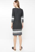 edit - 3/4 Sleeve tunic dress - multi
