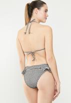 South Beach  - Seersucker gingham bikini frill bottom - black & white
