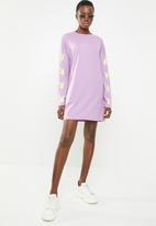 Missguided - Playboy bunny sleeve detail long sleeve t-shirt dress - purple
