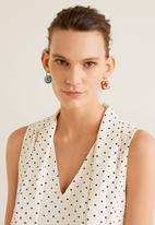 MANGO - Printed bow dress - off white