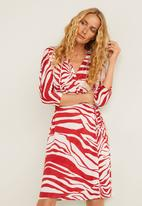 MANGO - Printed wrap dress - red & white