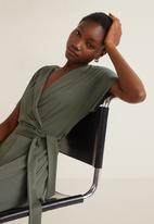 MANGO - Wrap tie-front jumpsuit - green