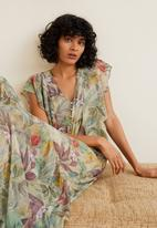 MANGO - Floral chiffon maxi dress with ruffle detail  - green
