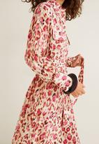 MANGO - Leopard midi patch pocket dress - red