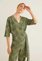 MANGO - Floral wrap blouse - green