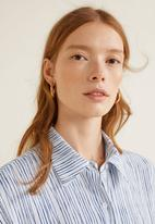 MANGO - Striped print shirt dress - blue