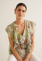 MANGO - Floral blouse with frill detail - green